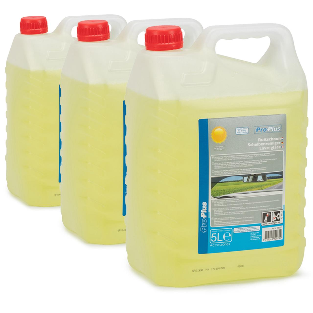 PROPLUS 130181 Scheibenreiniger Scheibenwischwasser Sommer Fertigmix 3x 5 Liter