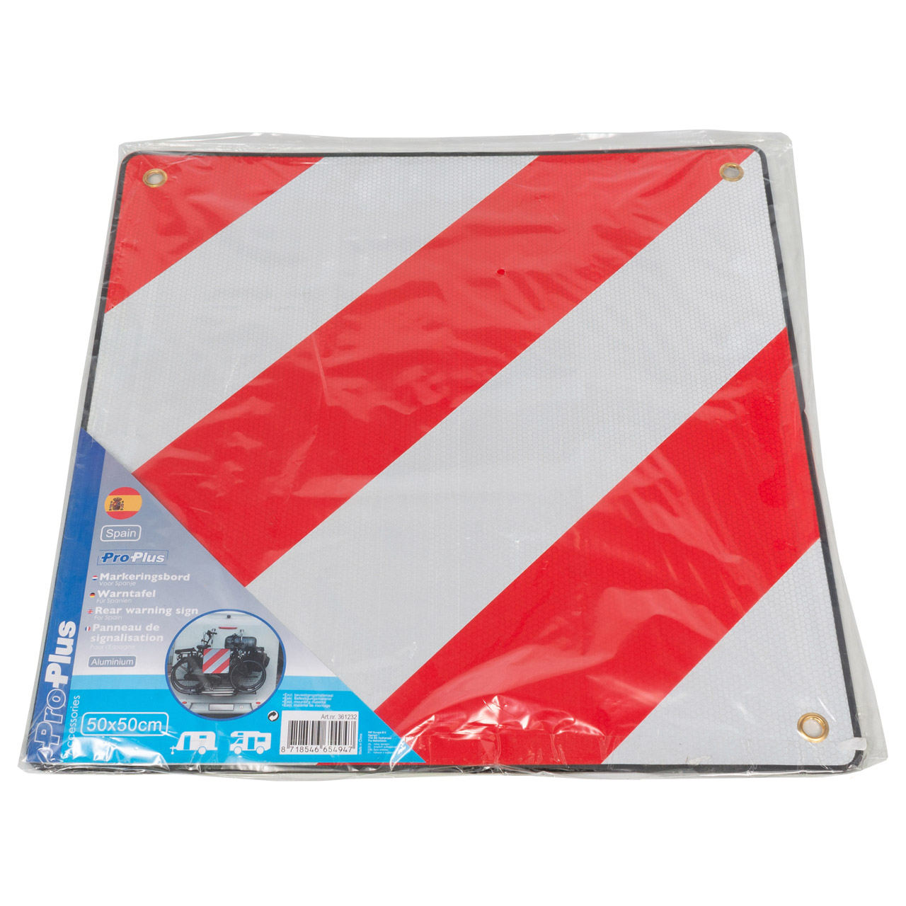 PROPLUS 361232 Warnschild Alu-Warntafel ROT-Weiß 50x50cm für Spanien