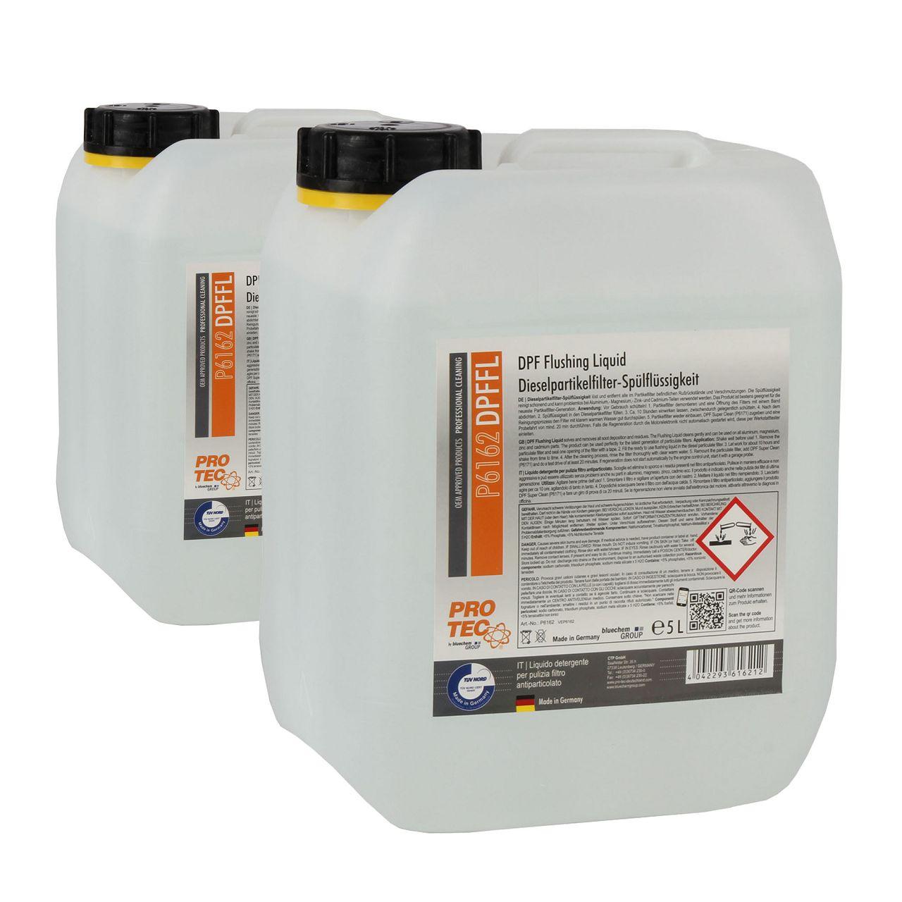 PROTEC DPF Flushing Liquid Dieselpartikelfilter-Spülflüssigkeit Reiniger 10L