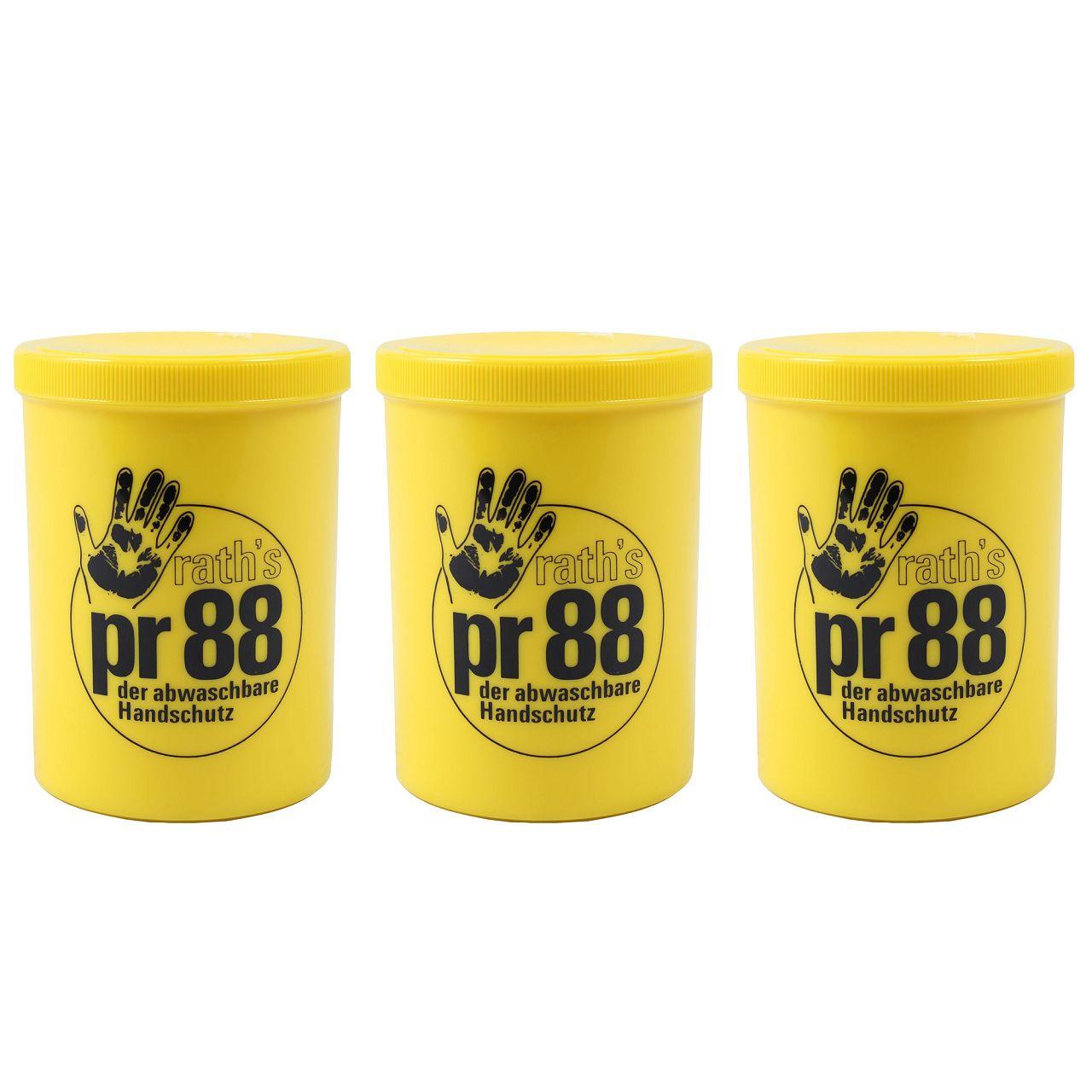 3x 1L 1 Liter RATH's Creme PR 88 Hautschutz der abwaschbare Handschuh Handcreme