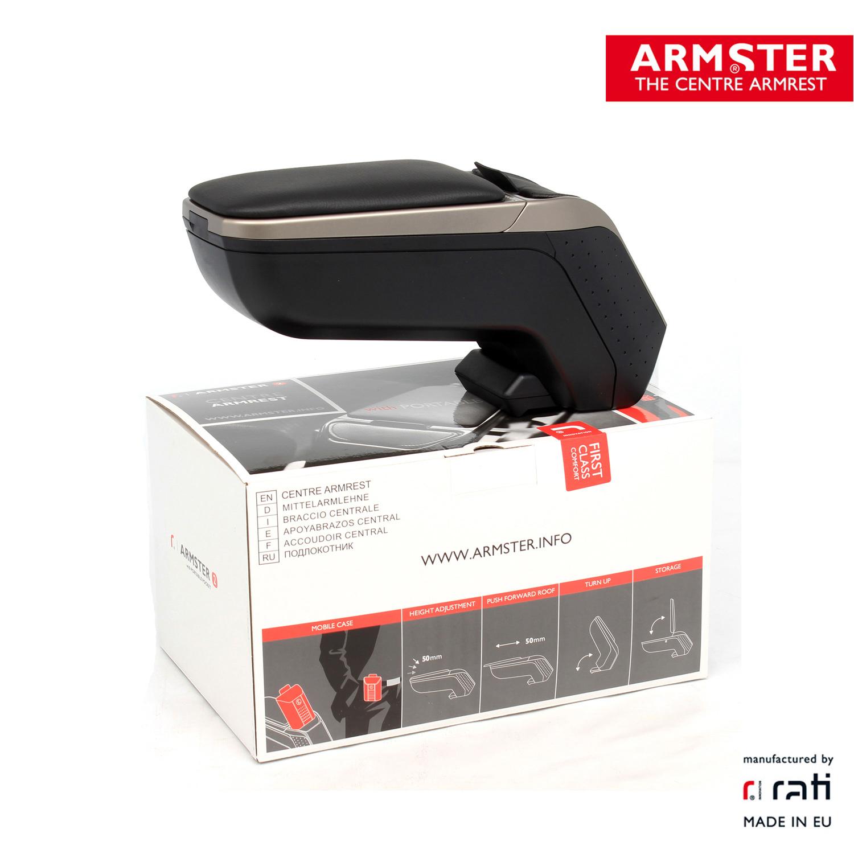 ARMSTER 2 - PREMIUM Armlehne Mittelarmlehne SILBER für SEAT IBIZA V (KJ1)