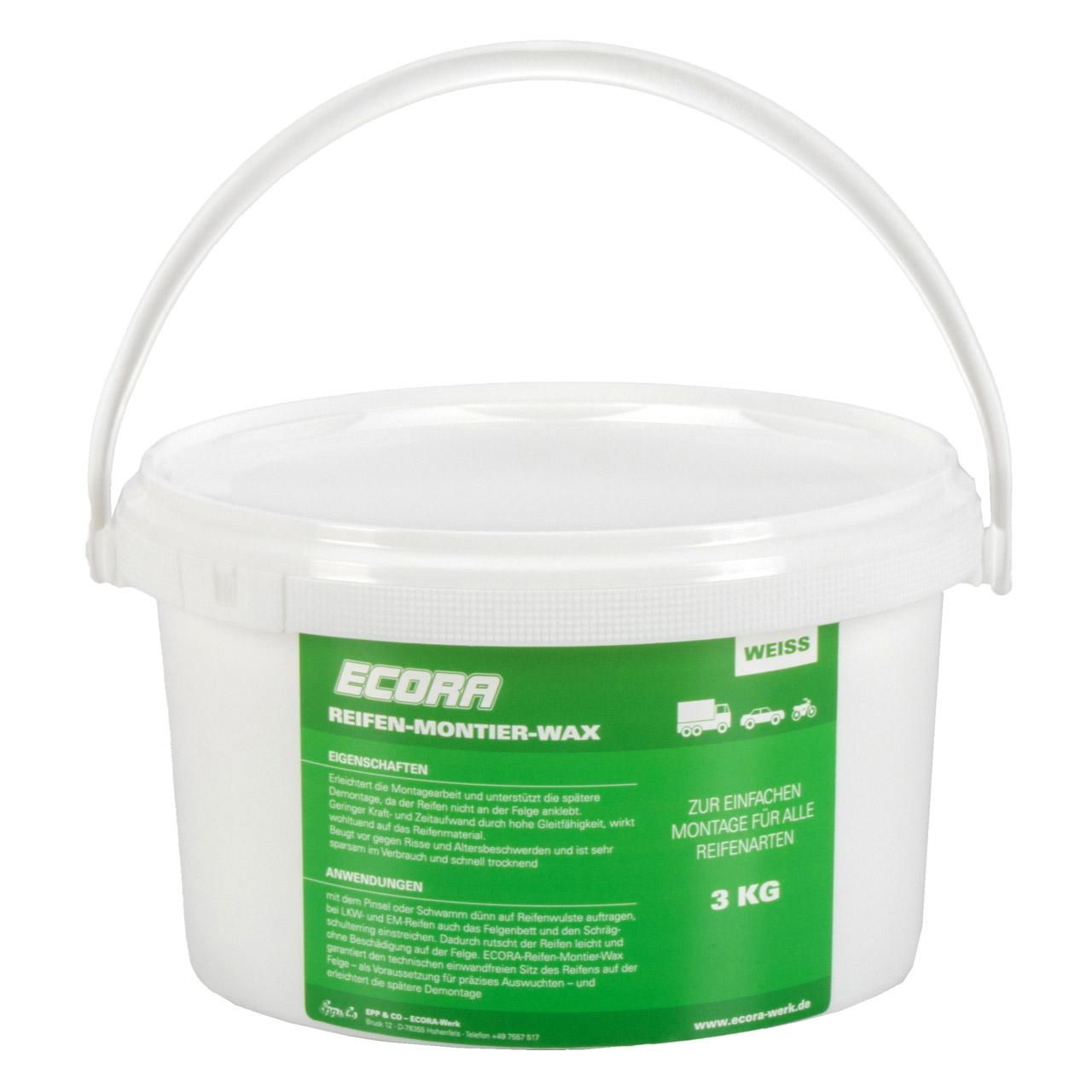 ECORA Reifen-Montier-Wax Reifenmontagepaste Reifenmontage Wachs WEIß 3 kg + Pinsel