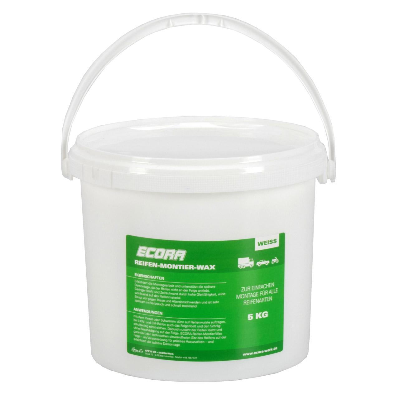 ECORA Reifen-Montier-Wax Reifenmontagepaste Reifenmontage Wachs WEIß 5 kg + Pinsel