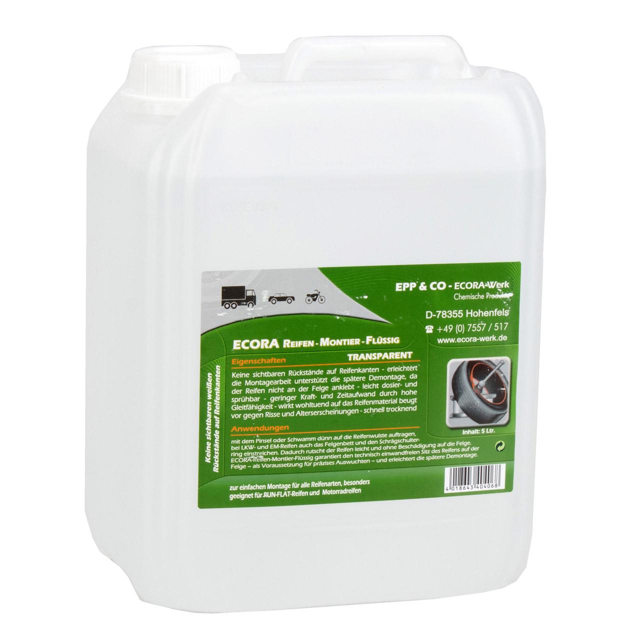 ECORA Reifen-Montier-Flüssig Reifenmontageflüssigkeit Reifenmontage 5L 5 Liter
