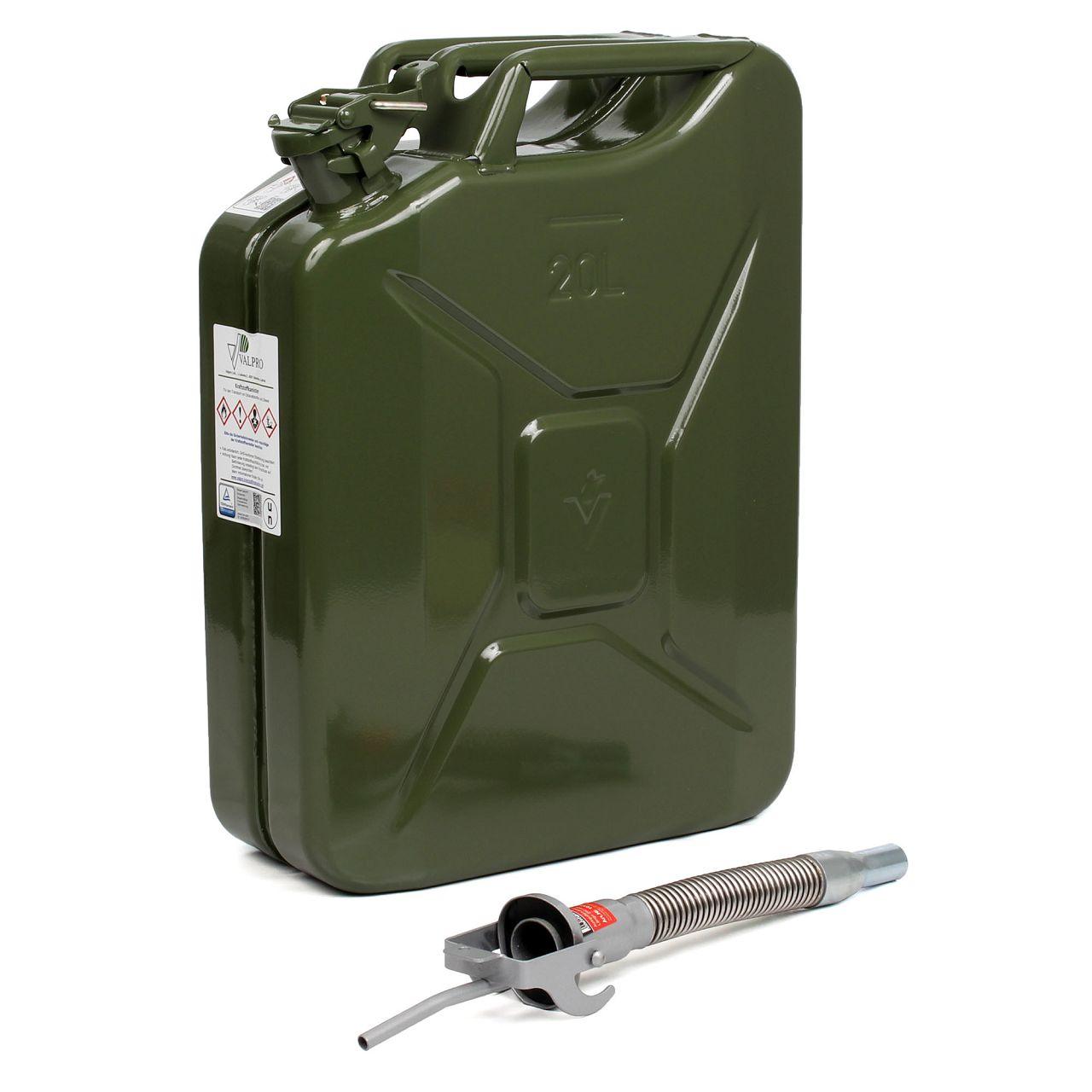 Kanister Benzin Diesel Reservekanister METALL 20Liter + Einfüllstutzen Ausgießer