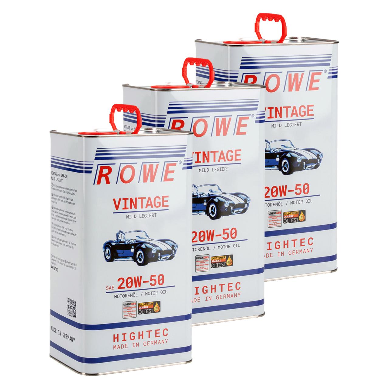 15 Liter ROWE Motoröl Öl VINTAGE Mild Legiert SAE 20W50 Oldtimer Mehrbereichs-Öl