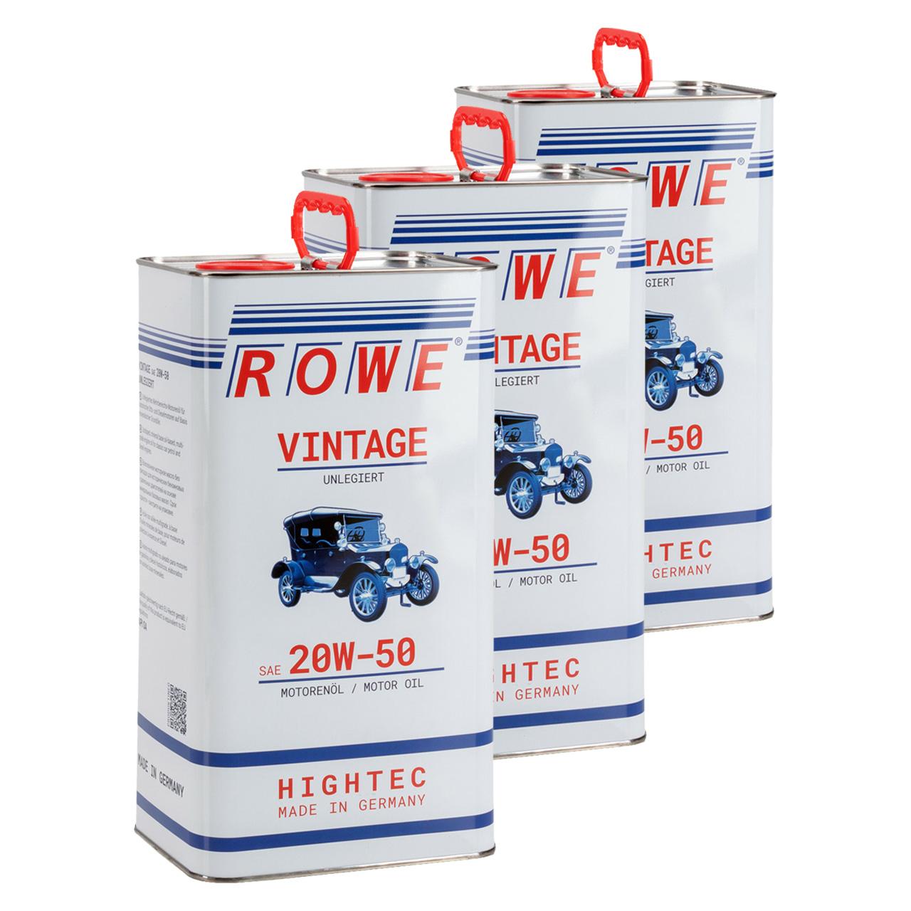 15 Liter ROWE Motoröl Öl VINTAGE Unlegiert SAE 20W50 Oldtimer Mehrbereichs-Öl