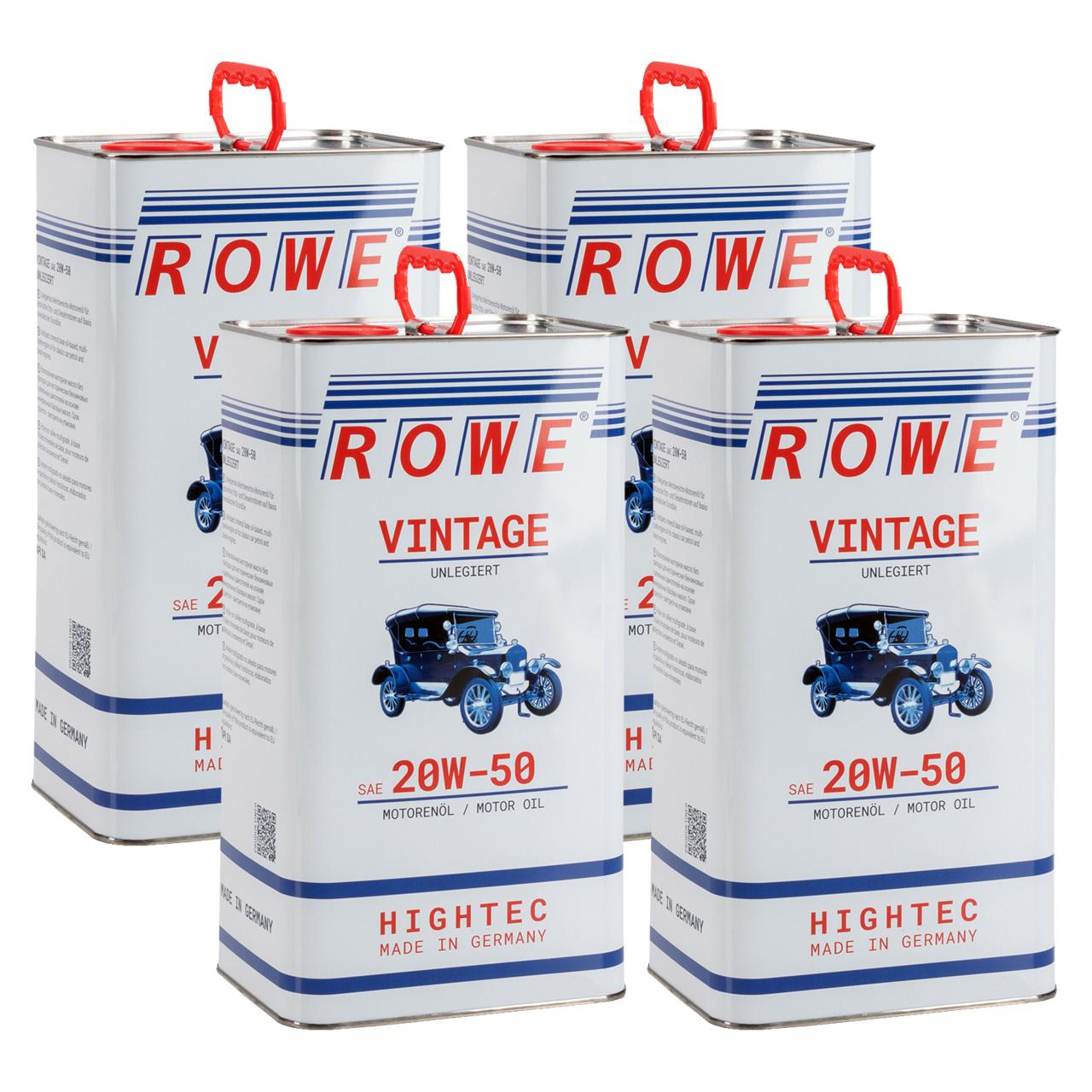 20 Liter ROWE Motoröl Öl VINTAGE Unlegiert SAE 20W50 Oldtimer Mehrbereichs-Öl