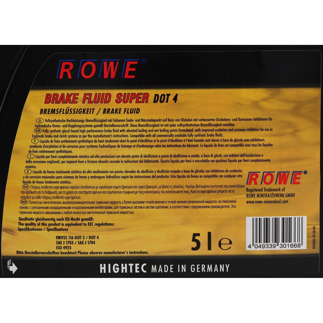 ROWE Bremsflüssigkeit HIGH TEC BRAKE FLUID SUPER DOT 4 - 5L 5 Liter