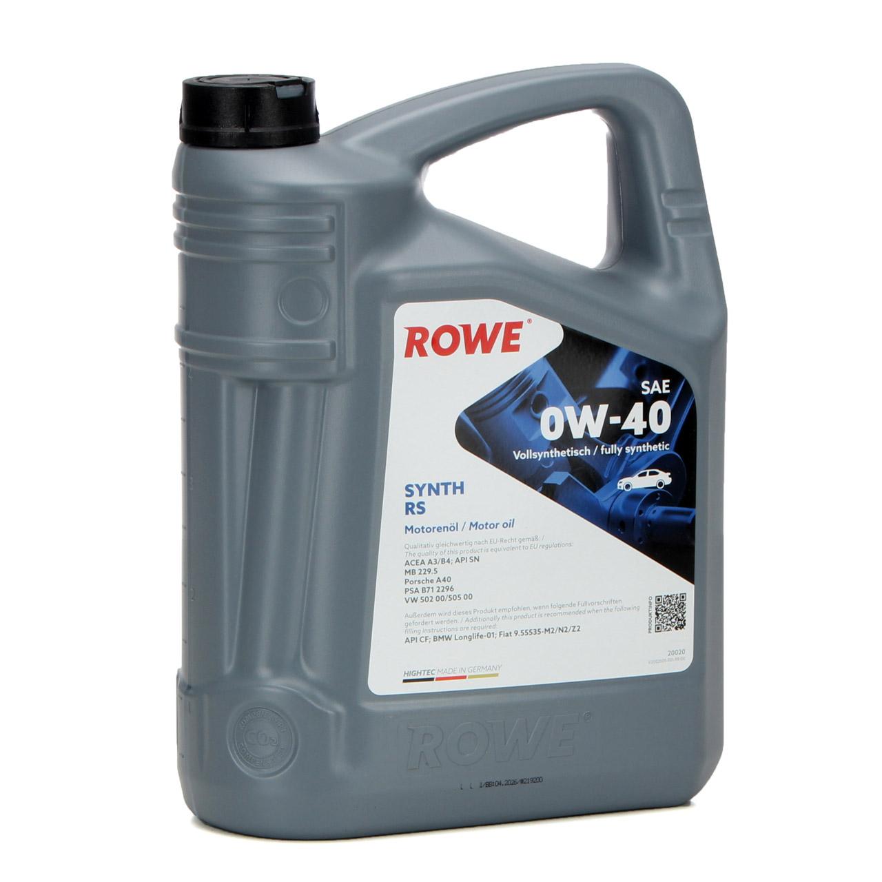 5L 5 Liter ROWE Motoröl Öl SYNTH RS 0W-40 MB 229.5 PSA B71 2296 VW 502.00/505.00