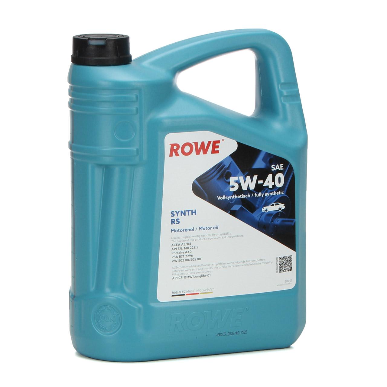 5L 5 Liter ROWE Motoröl Öl SYNTH RS 5W-40 MB 229.5 PSA B71 2296 VW 502.00/505.00