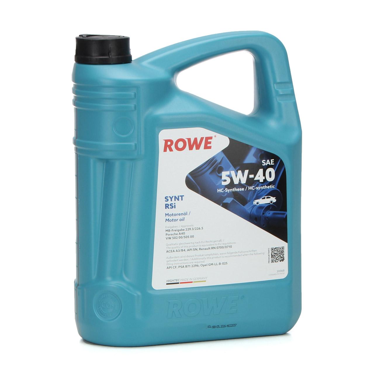 5L 5 Liter ROWE Motoröl Öl SYNT RSi 5W-40 5W40 MB 229.3/226.5 VW 502.00/505.00