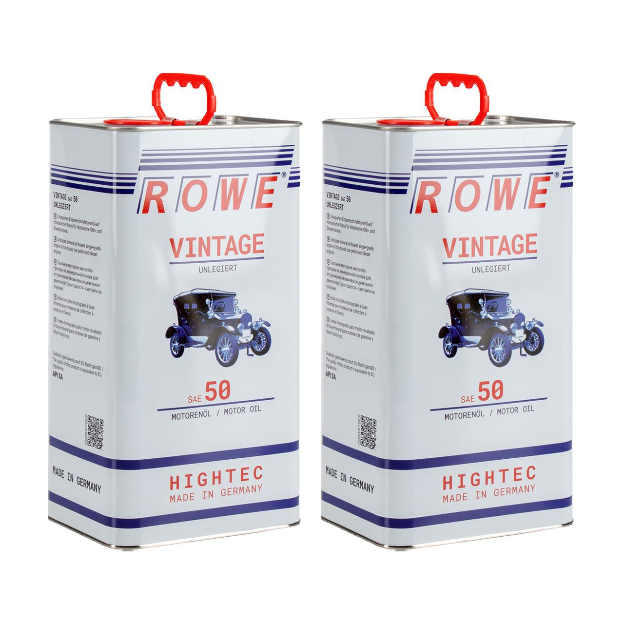 10L 10 Liter ROWE Motoröl Öl VINTAGE Unlegiert SAE 50 Oldtimer Einbereichs-Öl