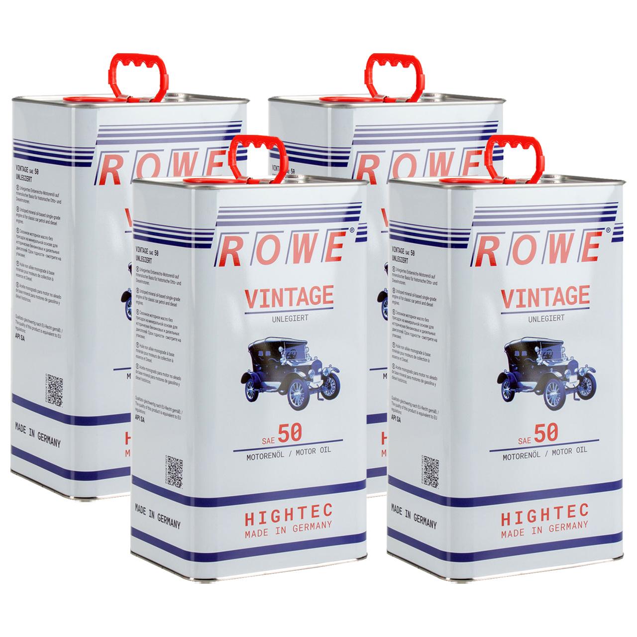 20L 20 Liter ROWE Motoröl Öl VINTAGE Unlegiert SAE 50 Oldtimer Einbereichs-Öl