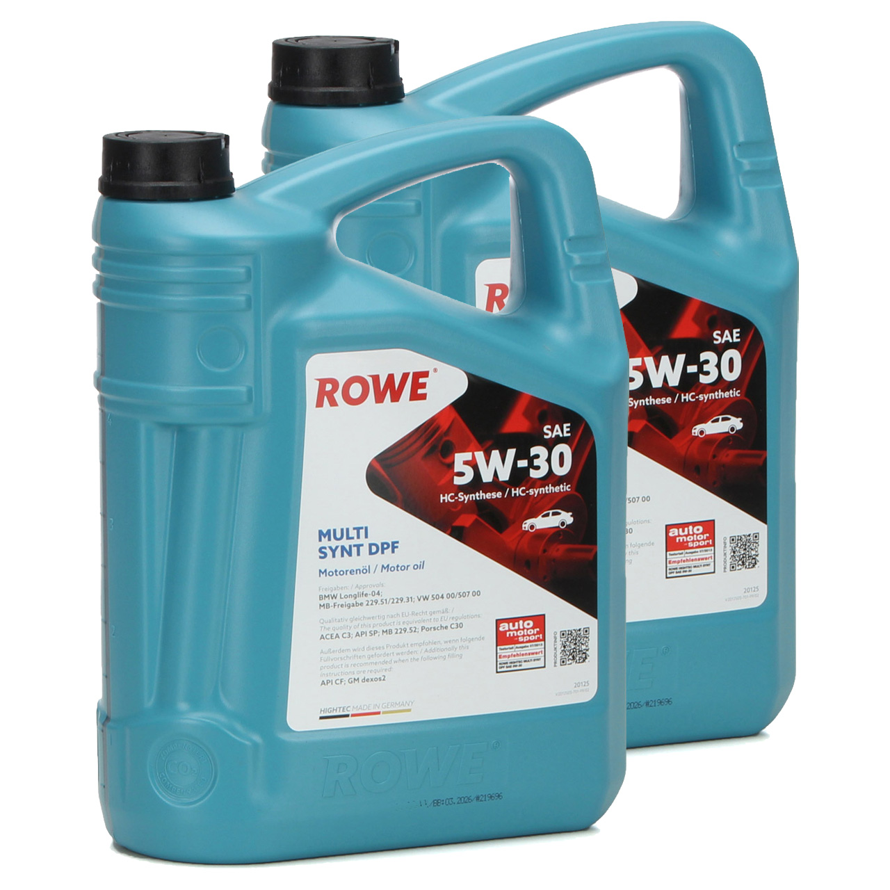 10 Liter ROWE Motoröl Öl MULTI SYNT DPF 5W30 BMW LL-04 MB 229.51 VW 504/507.00