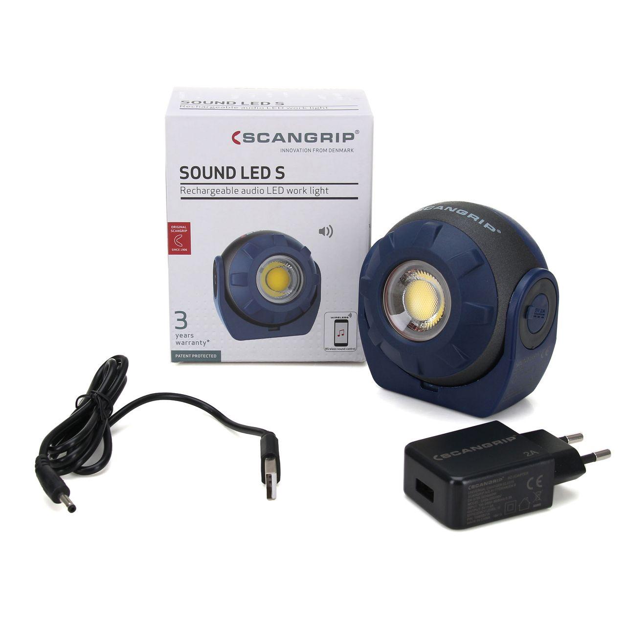 SCANGRIP SOUND LED S Akku-Arbeitsleuchte mit eingebautem Lautsprecher