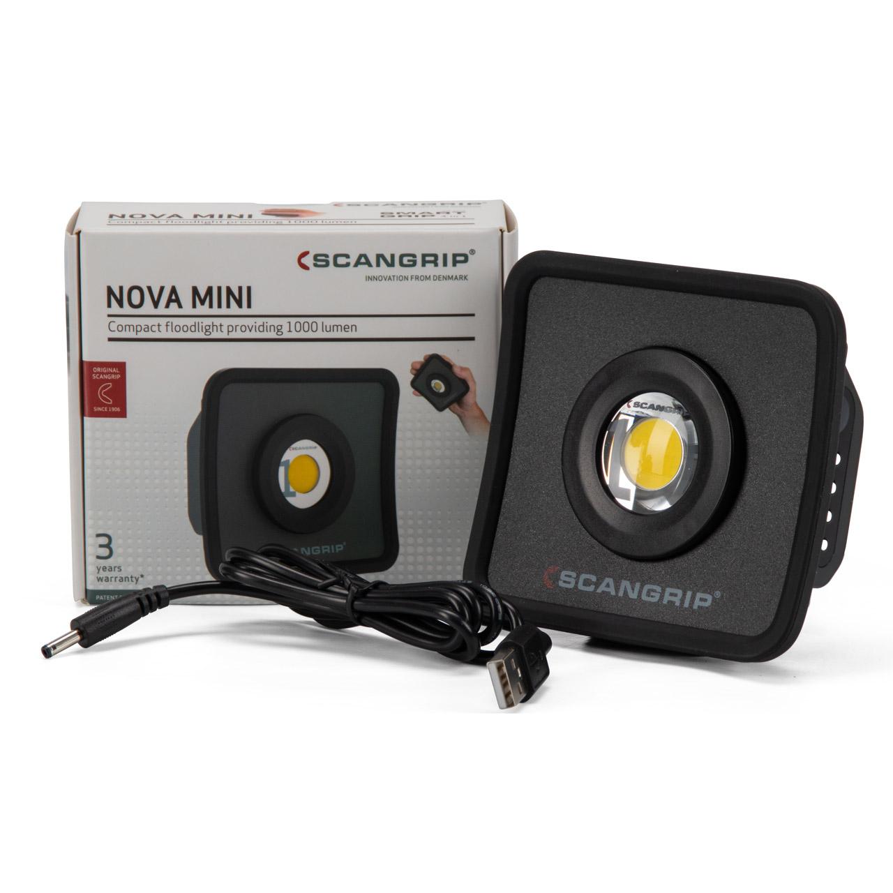 SCANGRIP 03.6010 NOVA MINI Kompakter Flutlichtstrahler mit Smart Grip 1000 Lumen