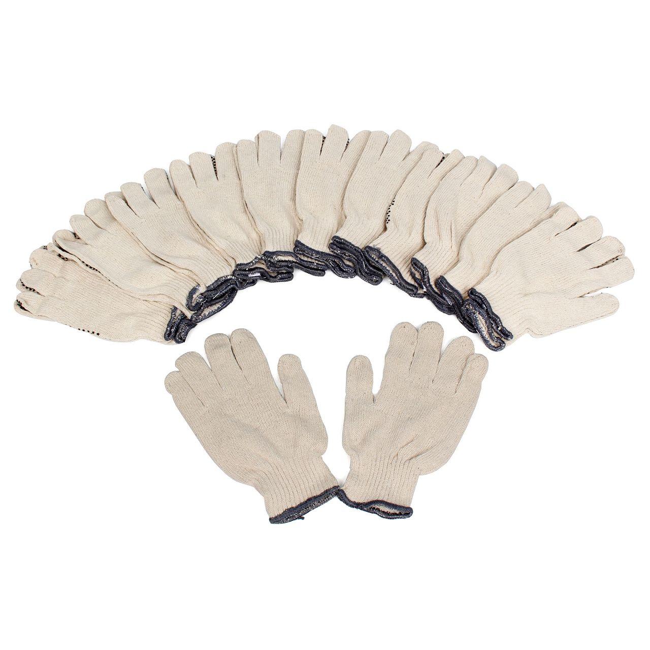 Handschuhe Arbeitshandschuhe BAUMWOLLE - GENOPPT Größe 10 / XL (12 Paar)