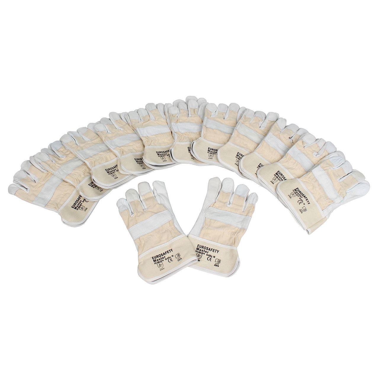Rindnarbenleder-Handschuhe Arbeitshandschuhe GRAU - Größe 10 / XL (12 Paar)