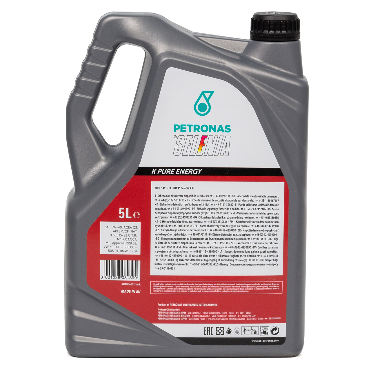 PETRONAS SELENIA Motoröl Öl K PURE ENERGY 5W40 5W-40 Fiat 9.55535-S2 - 5 Liter