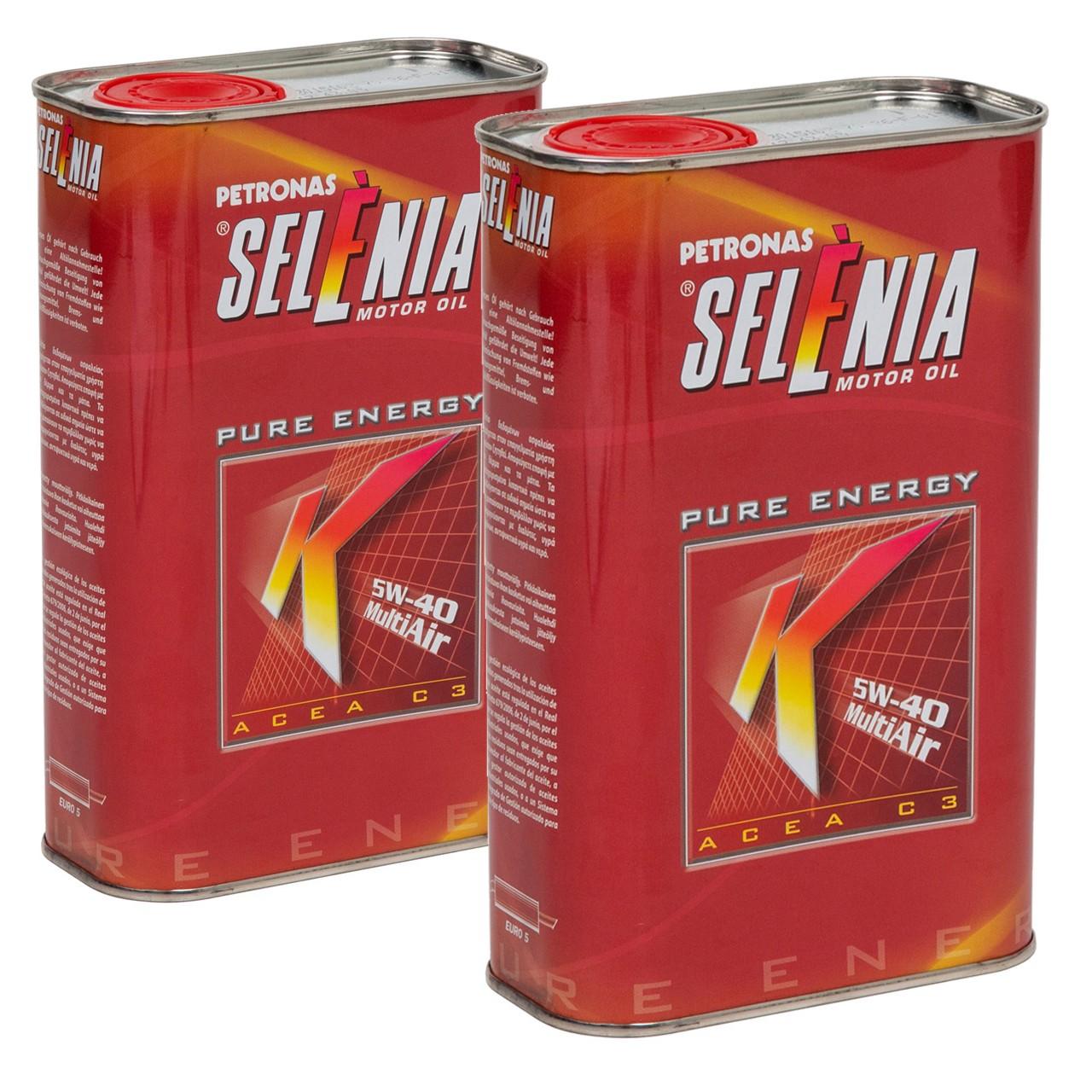 PETRONAS SELENIA Motoröl Öl K PURE ENERGY 5W40 5W-40 Fiat 9.55535-S2 - 2 Liter