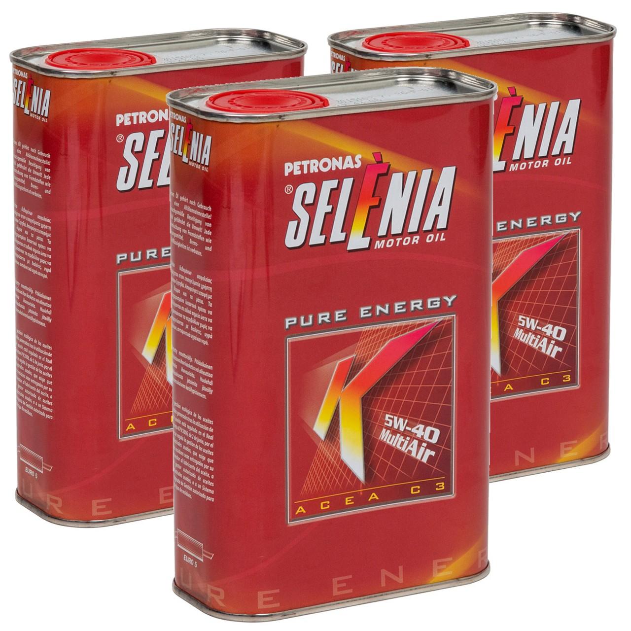 PETRONAS SELENIA Motoröl Öl K PURE ENERGY 5W40 5W-40 Fiat 9.55535-S2 - 3 Liter
