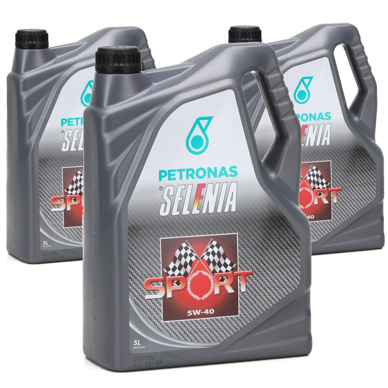 PETRONAS SELENIA Motoröl Öl SPORT 5W40 5W-40 für Fiat 9.55535-Z2 - 15L 15 Liter
