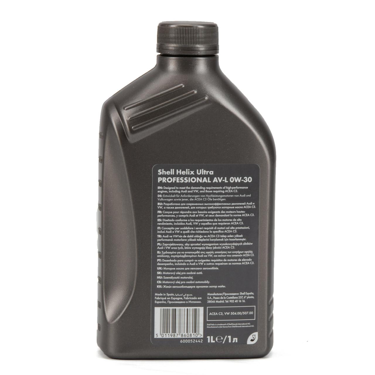 SHELL Motoröl Öl HELIX ULTRA Professional AV-L 0W30 VW 504.00/507.00 - 1 Liter