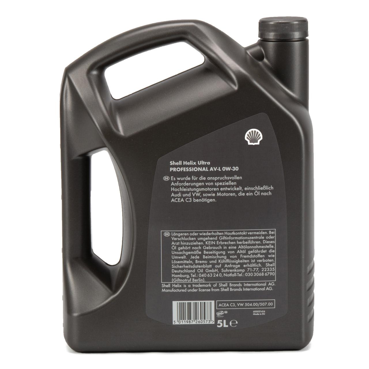 SHELL Motoröl Öl HELIX ULTRA Professional AV-L 0W30 VW 504.00/507.00 - 5 Liter