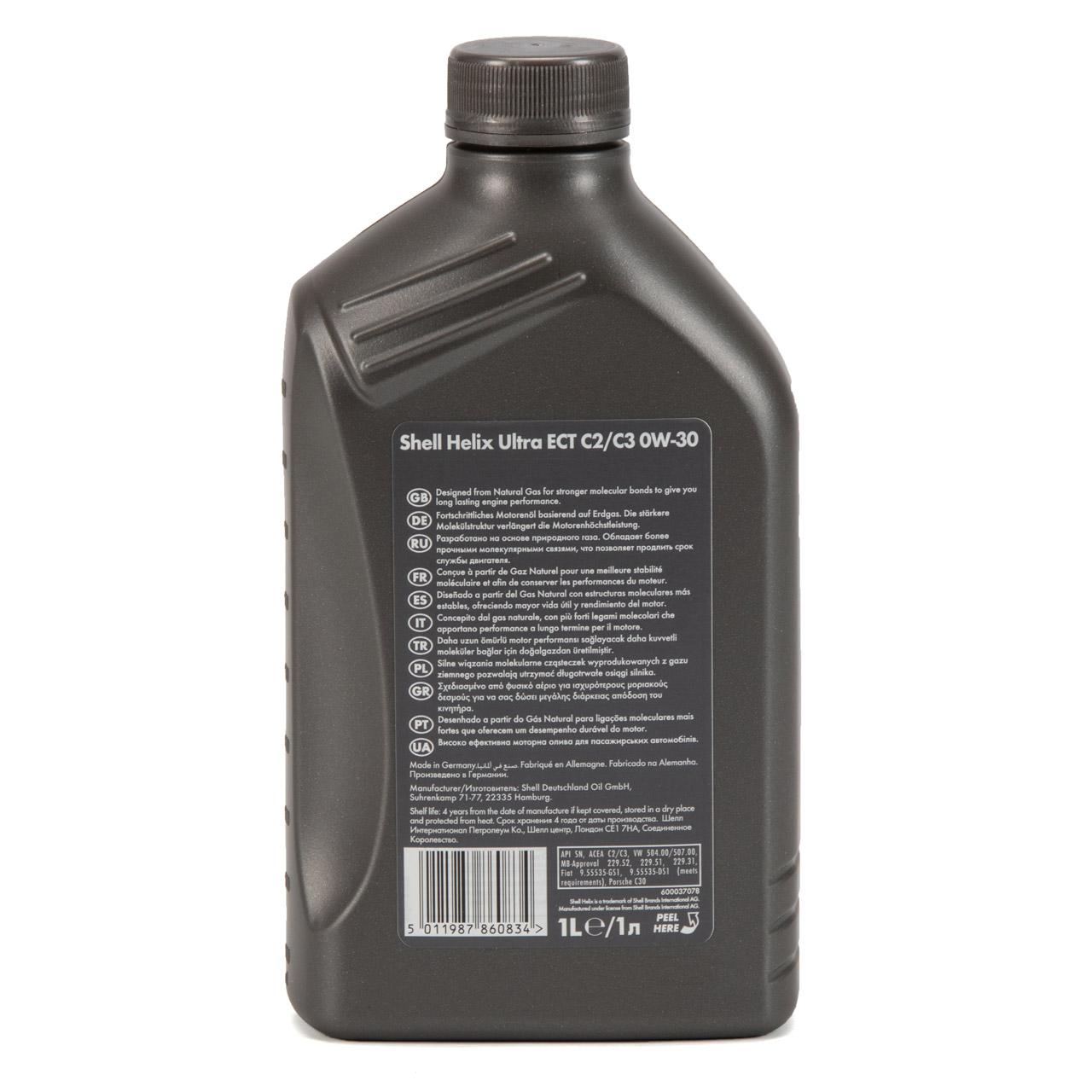 SHELL Motoröl Öl HELIX ULTRA ECT C2/C3 0W30 VW 50400/50700 MB 229.52 - 1 Liter
