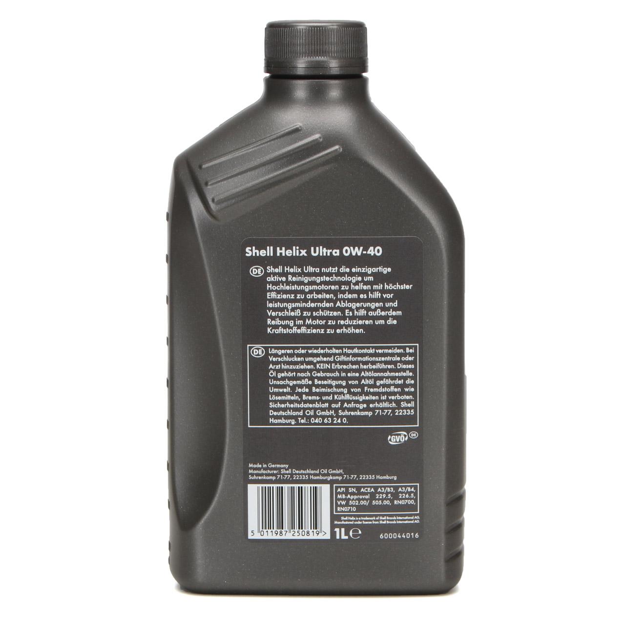 SHELL Motoröl Öl HELIX ULTRA 0W40 MB 229.5/226.5 VW 502.00/505.00 - 1L 1 Liter