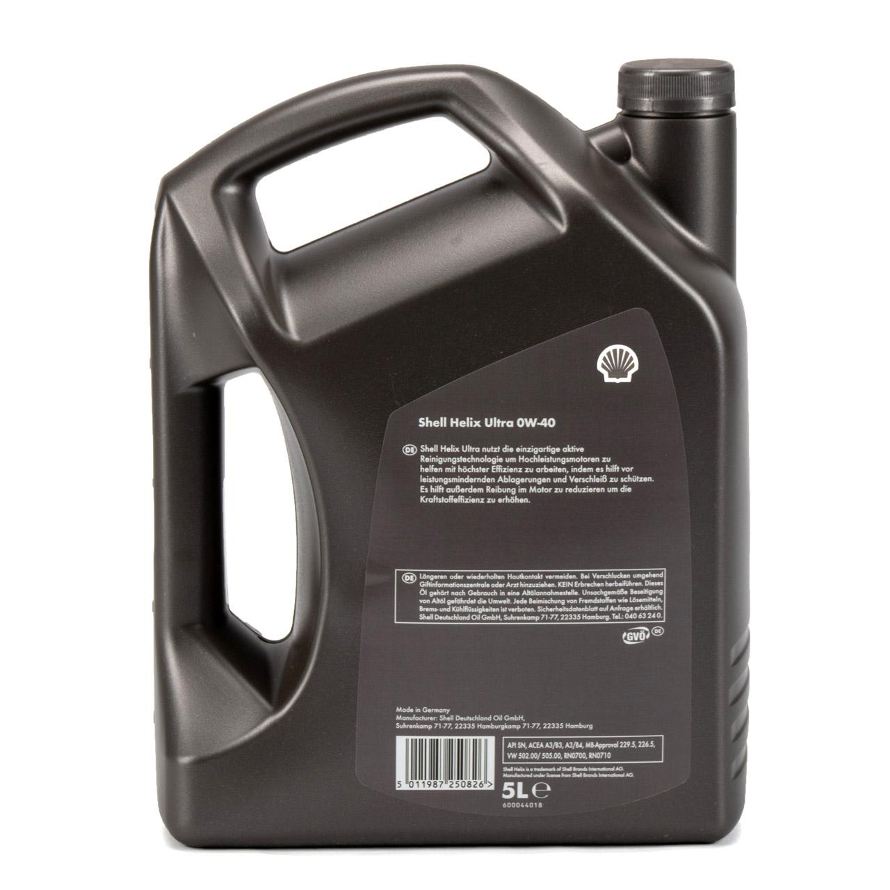 SHELL Motoröl Öl HELIX ULTRA 0W40 MB 229.5/226.5 VW 502.00/505.00 - 5L 5 Liter
