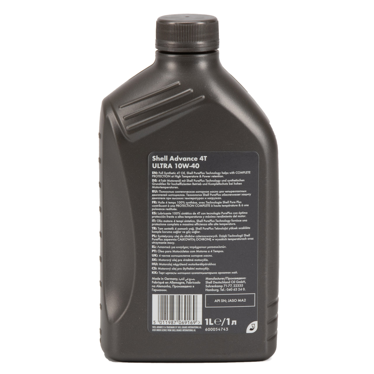 SHELL Motoröl Öl ADVANCE ULTRA 4T 4-TAKT 10W-40 API SN JASO MA-2 - 1L 1 Liter