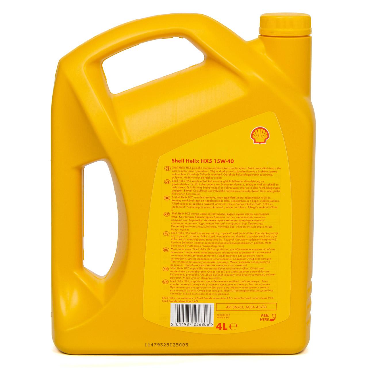 SHELL Motoröl Öl HELIX HX5 15W-40 15W40 API SN/CF ACEA A3/B3 - 4L 4 Liter
