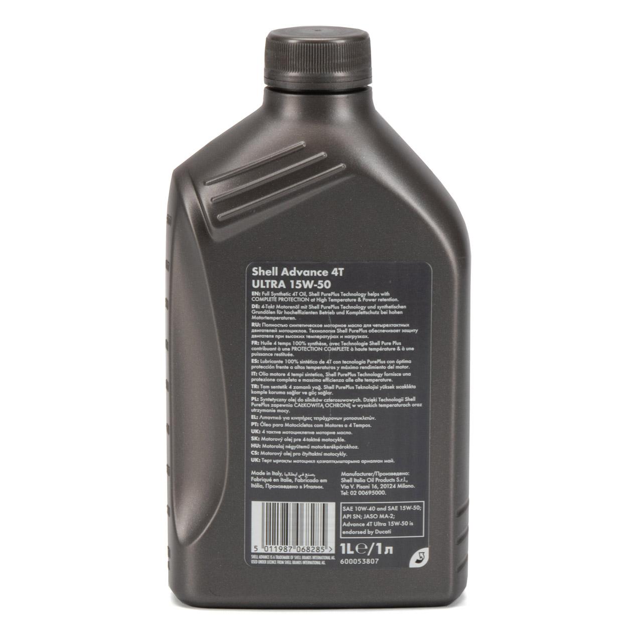 SHELL Motoröl Öl ADVANCE ULTRA 4T 4-TAKT 15W-50 API SN JASO MA-2 - 1L 1 Liter