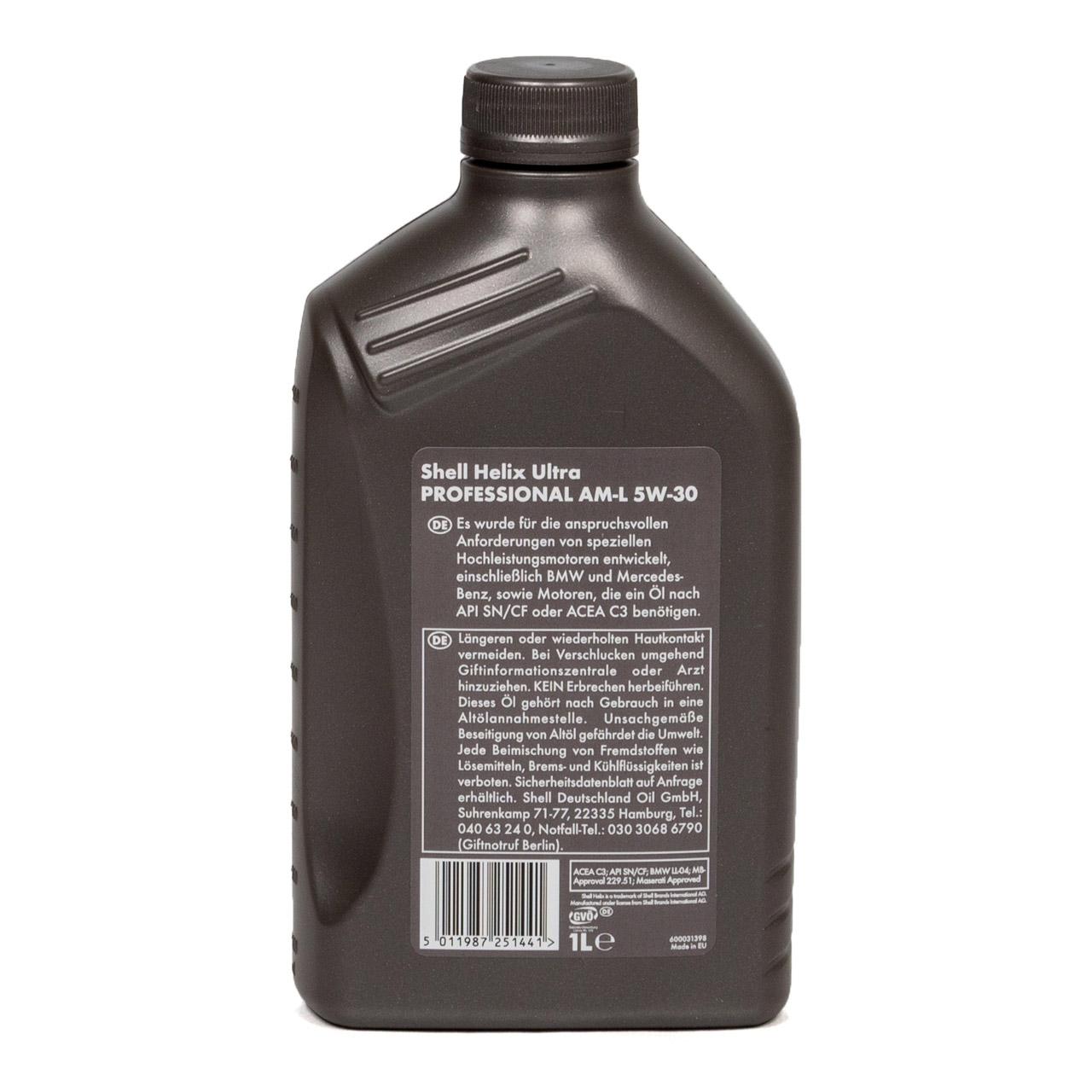 SHELL Motoröl Öl HELIX ULTRA Professional AM-L 5W30 für BMW LL-04 - 1L 1 Liter
