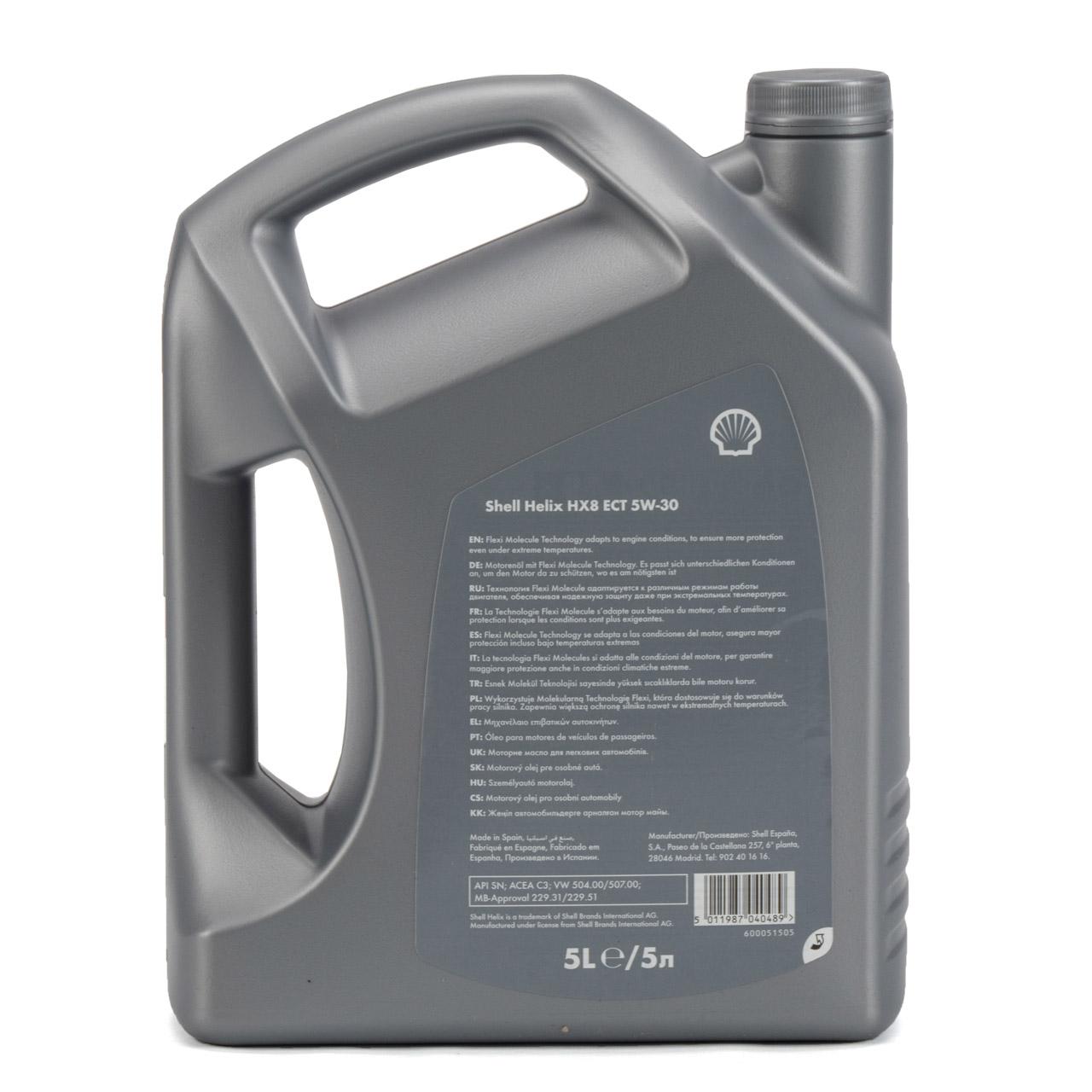 SHELL Motoröl ÖL HELIX HX8 ECT C3 5W-30 5W30 für MB 229.31 229.51 - 5L 5 Liter