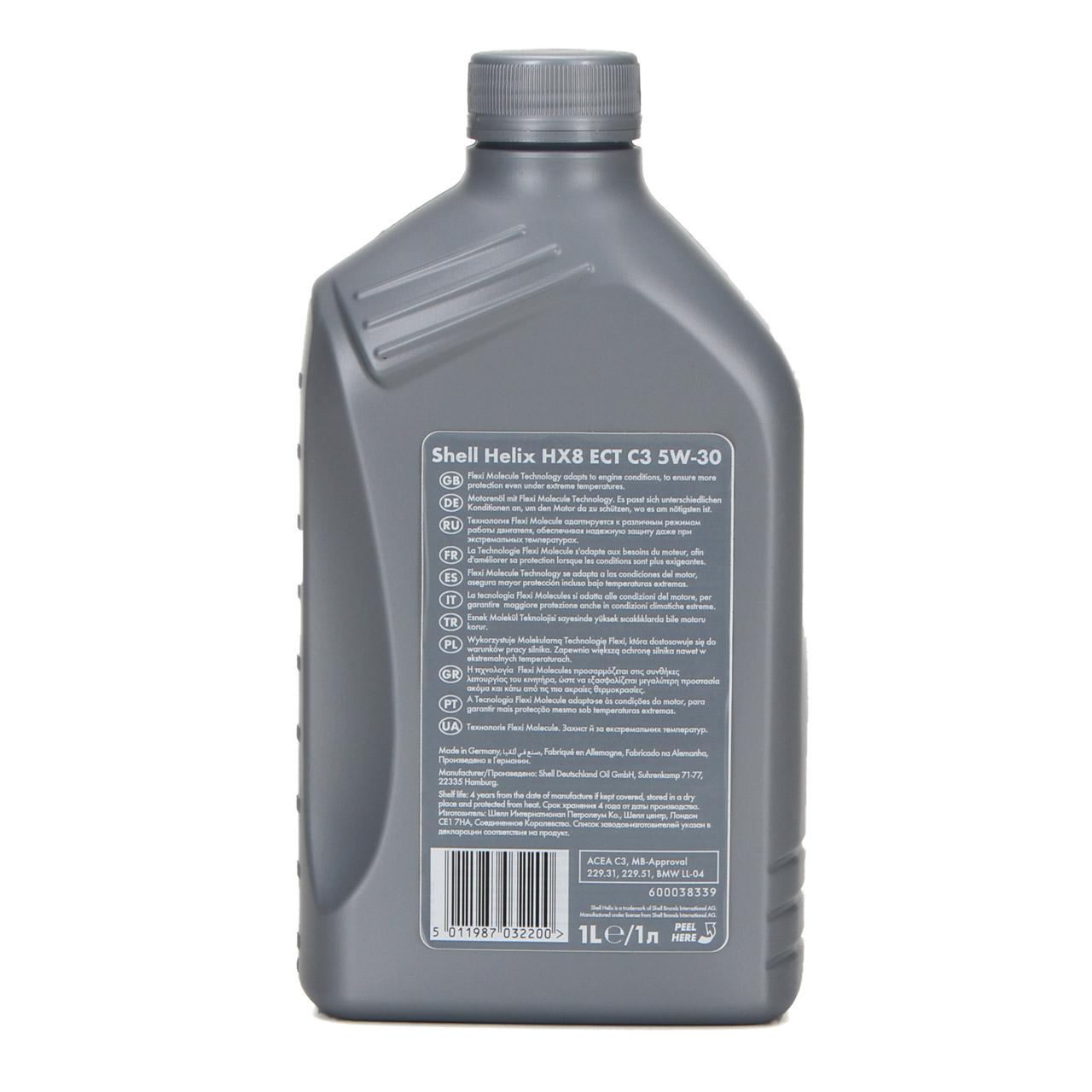 SHELL Motoröl ÖL HELIX HX8 ECT C3 5W-30 5W30 für MB 229.31 229.51 - 1L 1 Liter