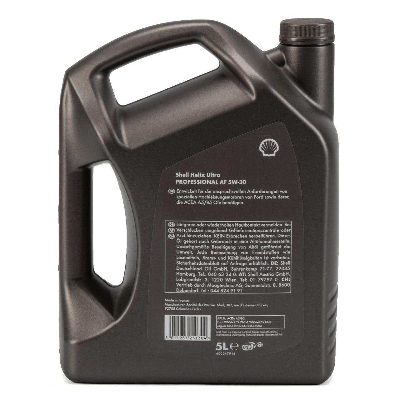 SHELL Motoröl Öl HELIX ULTRA Professional AF 5W30 Ford WSS-M2C913-C/-D - 5 Liter