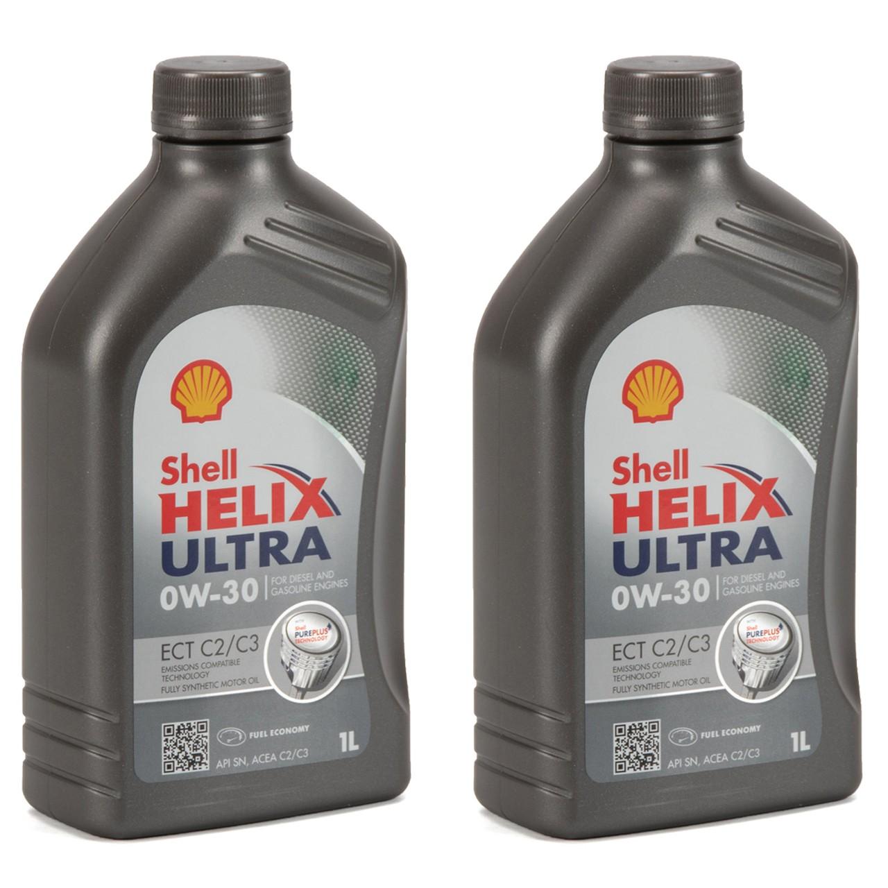 SHELL Motoröl Öl HELIX ULTRA ECT C2/C3 0W30 VW 50400/50700 MB 229.52 - 2 Liter
