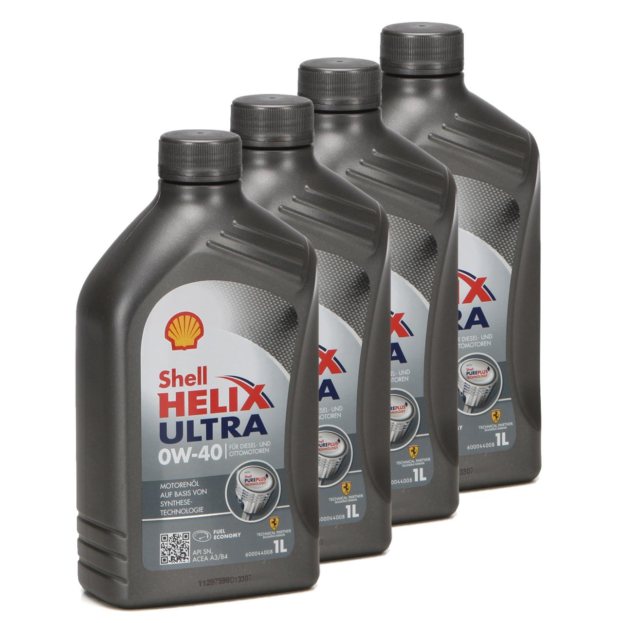 SHELL Motoröl Öl HELIX ULTRA 0W40 MB 229.5/226.5 VW 502.00/505.00 - 4L 4 Liter