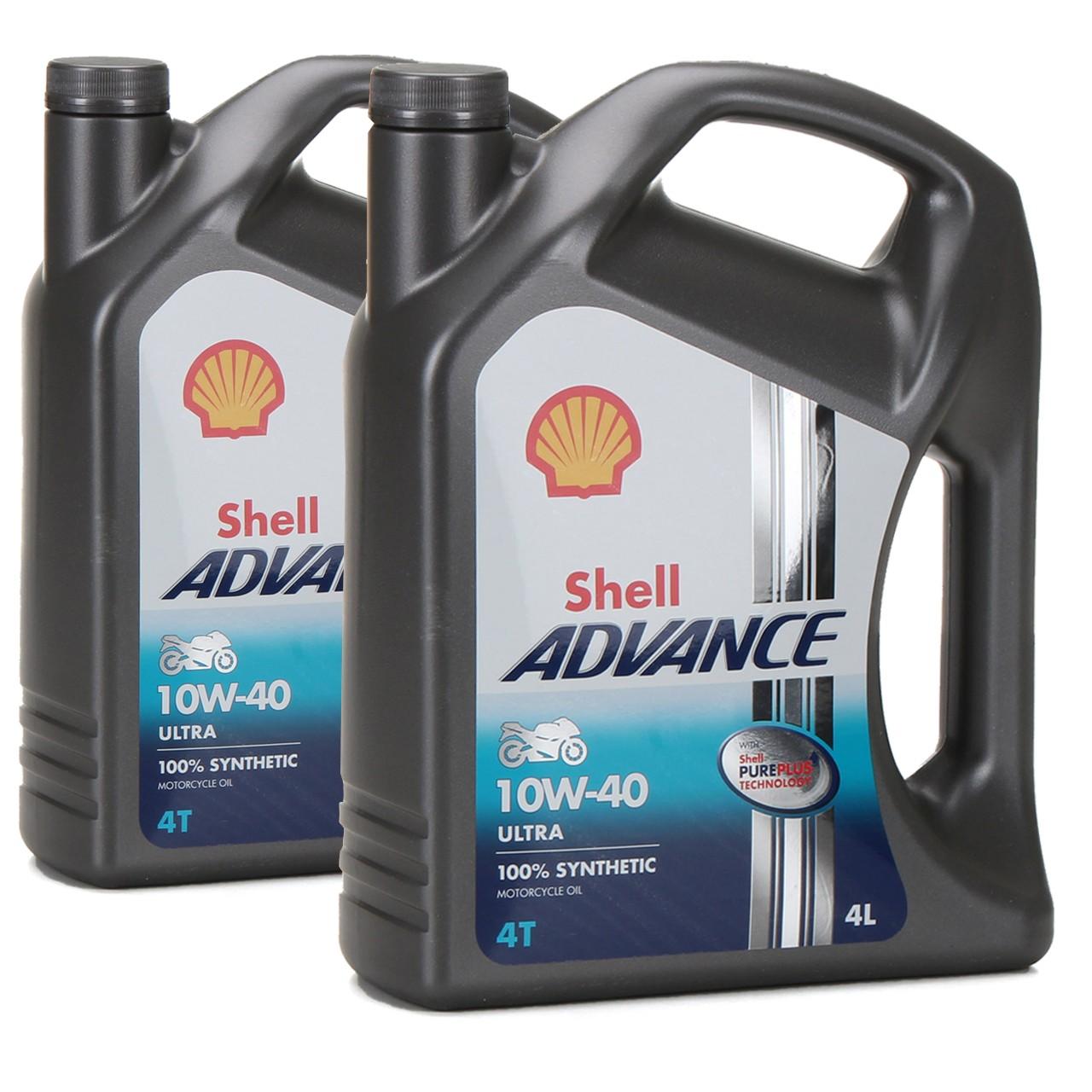 SHELL Motoröl Öl ADVANCE ULTRA 4T 4-TAKT 10W-40 API SN JASO MA-2 - 8L 8 Liter