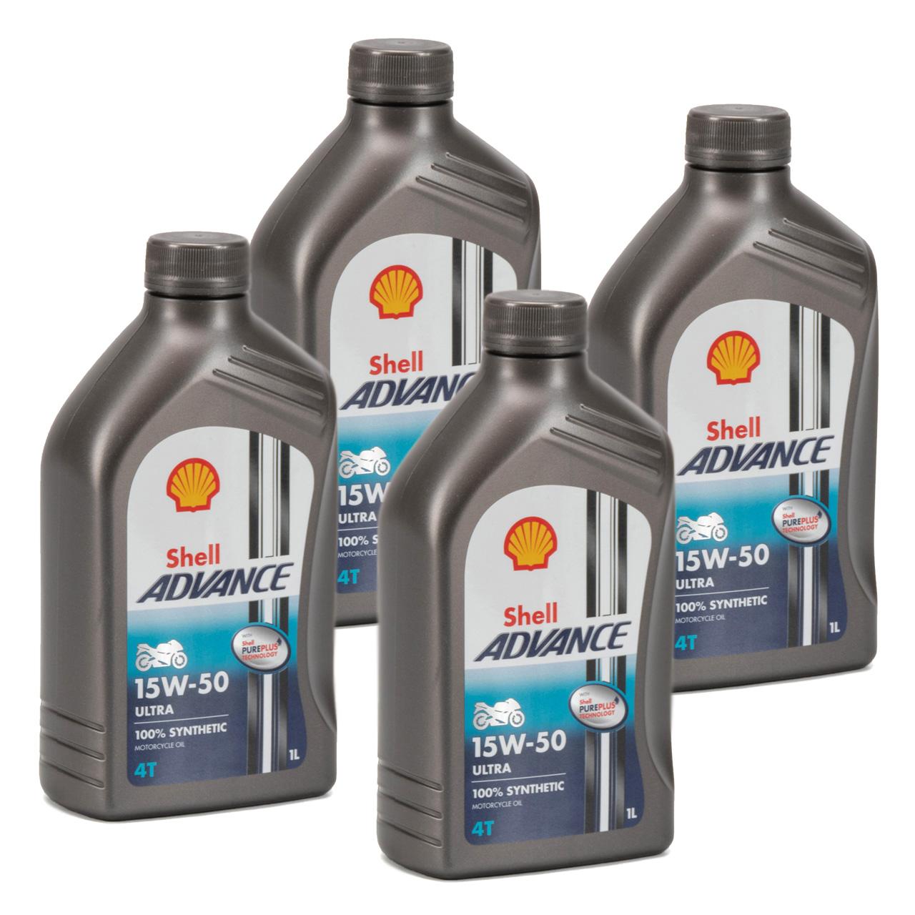SHELL Motoröl Öl ADVANCE ULTRA 4T 4-TAKT 15W-50 API SN JASO MA-2 - 4L 4 Liter
