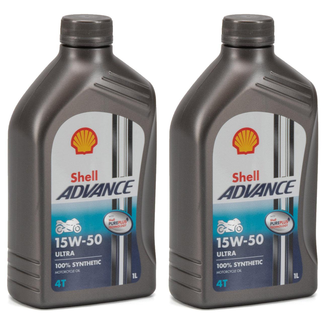 SHELL Motoröl Öl ADVANCE ULTRA 4T 4-TAKT 15W-50 API SN JASO MA-2 - 2L 2 Liter