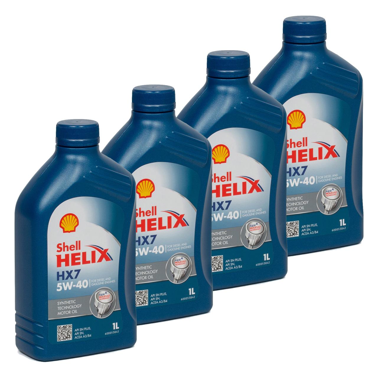SHELL Motoröl Öl HELIX HX7 5W-40 5W40 MB 229.3 VW 502.00 505.00 - 4L 4 Liter