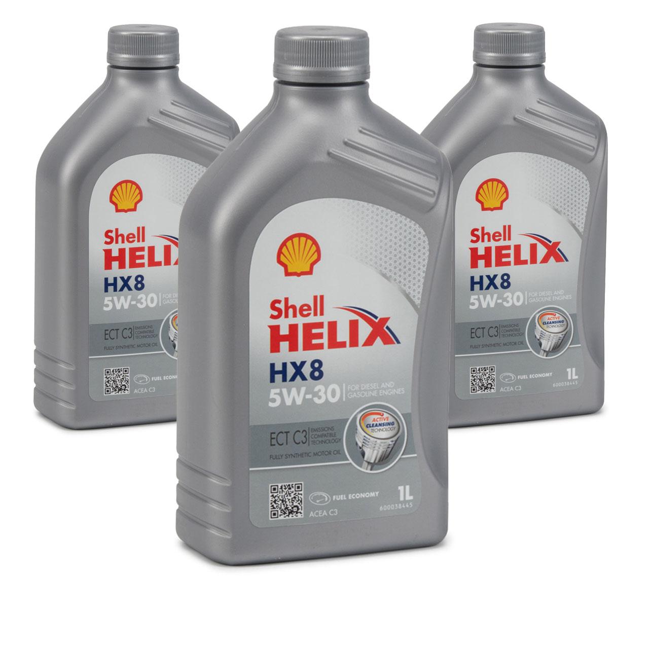 SHELL Motoröl ÖL HELIX HX8 ECT C3 5W-30 5W30 für MB 229.31 229.51 - 3L 3 Liter
