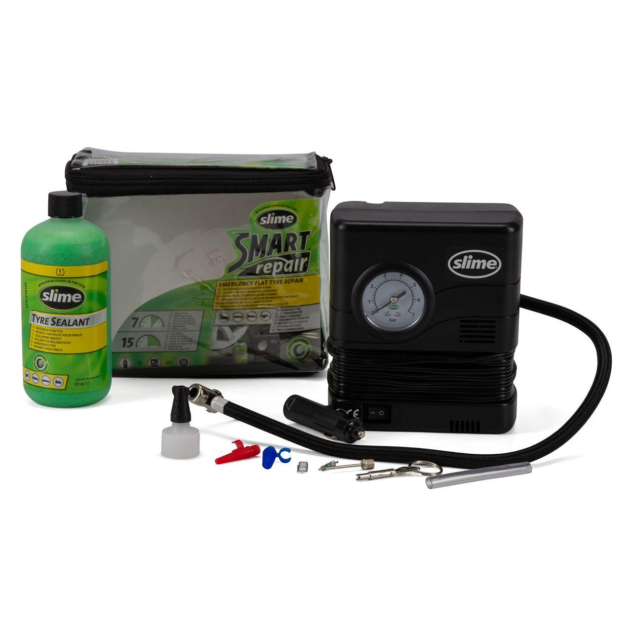 SLIME 500282 für Smart Repair Kit Reifen-Pannenset mit Kompressor + Dichtmittel