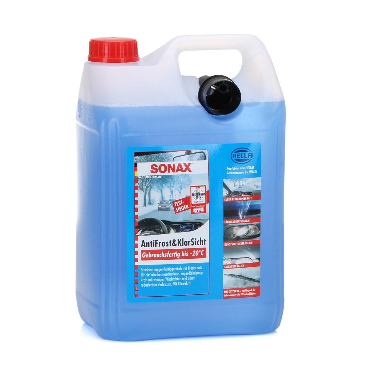 SONAX Frostschutz ANTIFROST & KLARSICHT gebrauchsfertig bis -20°C - 5L 5 Liter