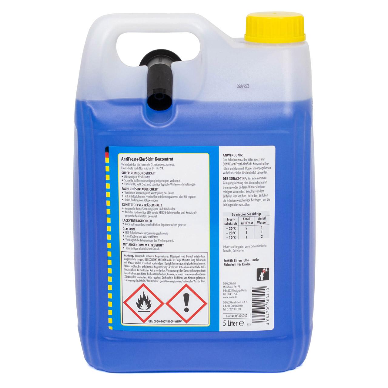 SONAX 332505 Scheiben Frostschutz ANTIFROST & KLARSICHT Konzentrat - 5L 5 Liter
