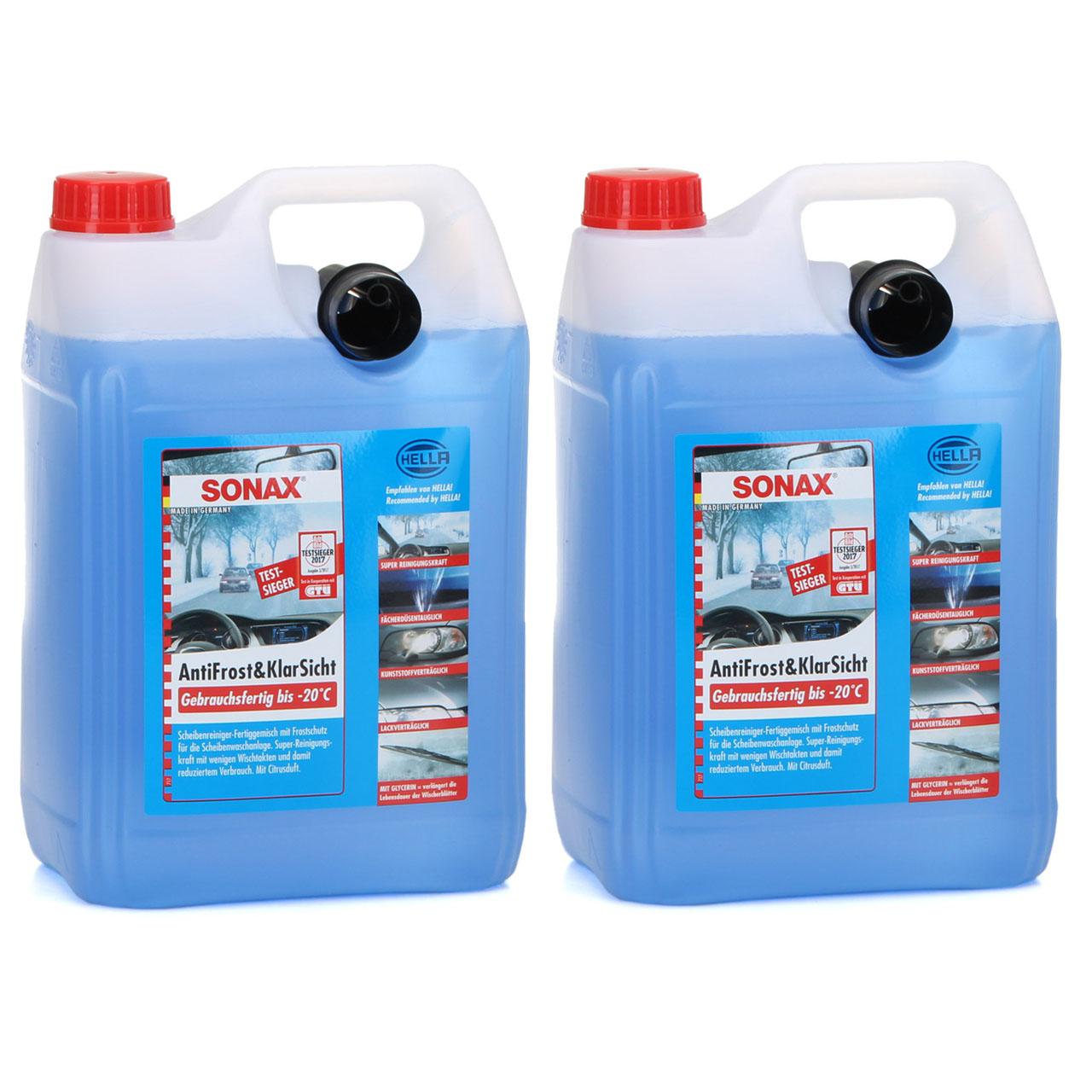 SONAX Frostschutz ANTIFROST & KLARSICHT gebrauchsfertig bis -20°C - 10L 10 Liter
